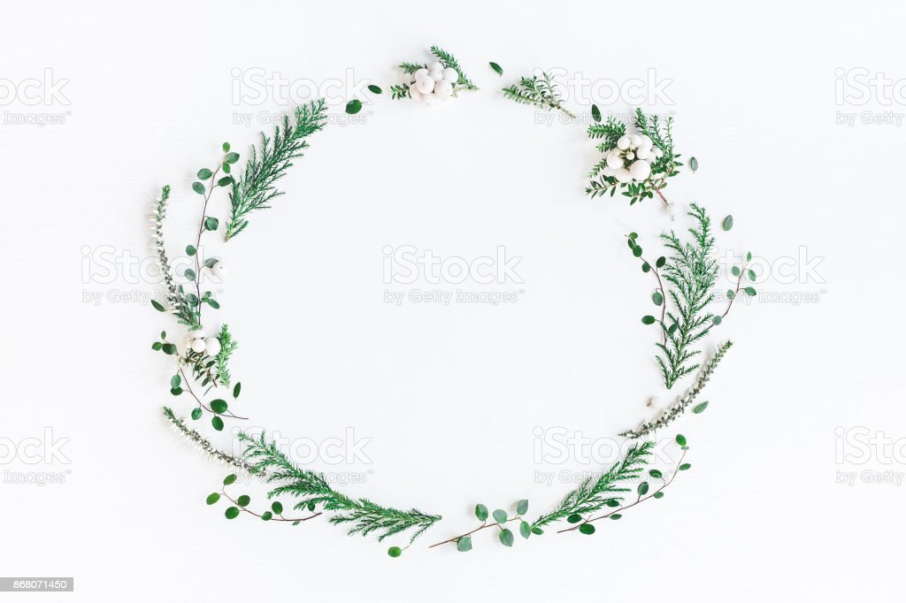 Christmas winter wreath. Flat lay, top view, copy space