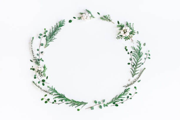 christmas winter wreath. flat lay, top view, copy space - christmas green stock photos and pictures