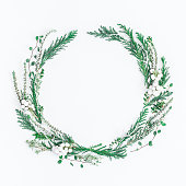 istock Christmas Winter wreath. Flat lay, top view, copy space, square 875996538