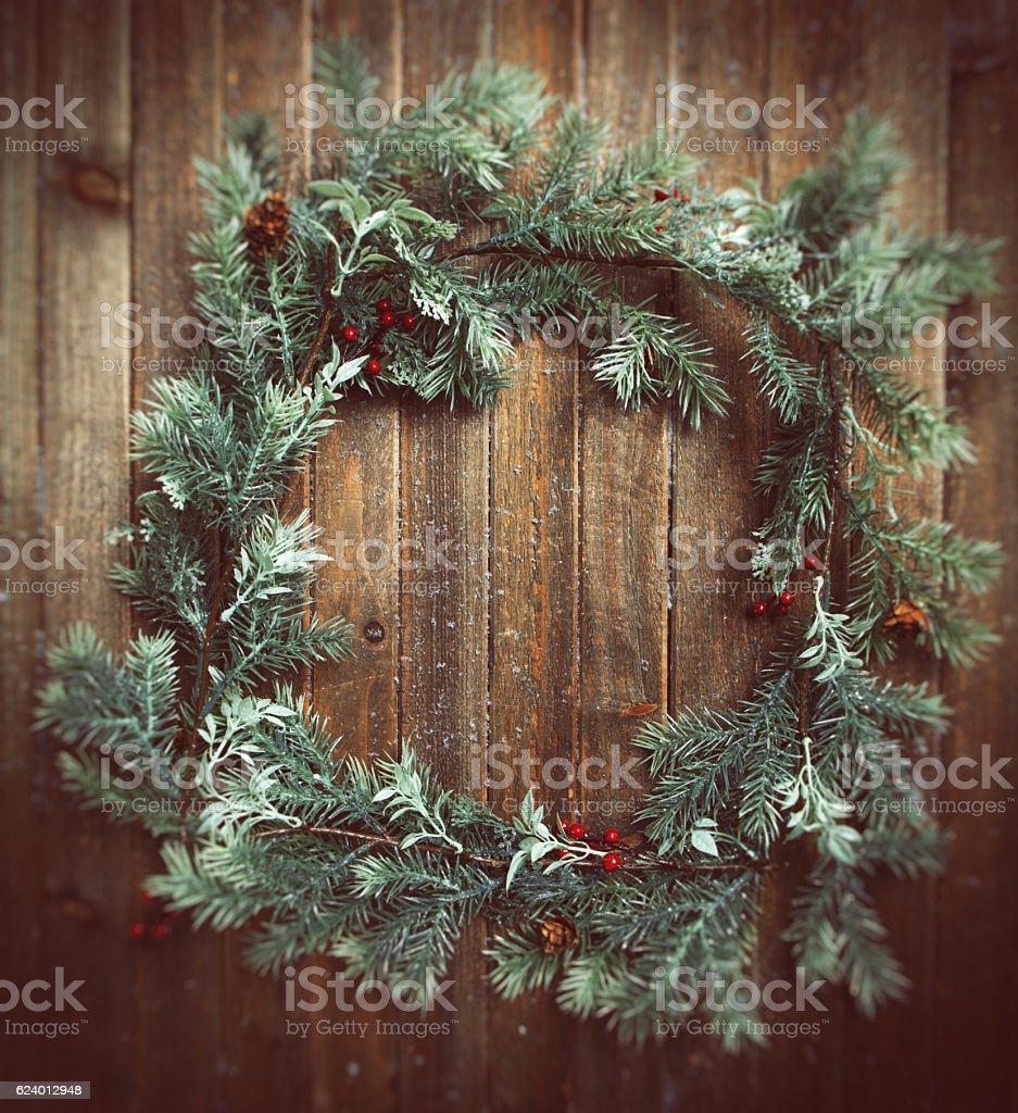 Christmas winter wreath stock photo