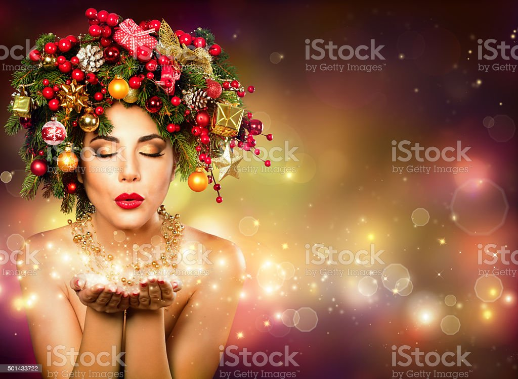 Christmas Wish  with Christmas Tree in Hair stock photo