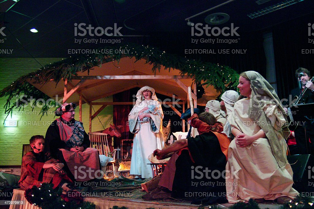 Christmas with nativity scene stock photo