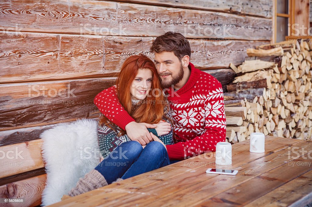 Christmas with the one he loves stock photo