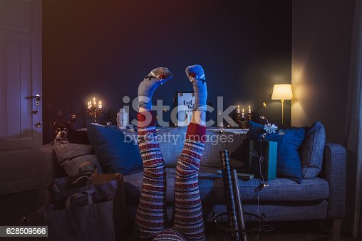 istock Christmas woman at home given up 628509566