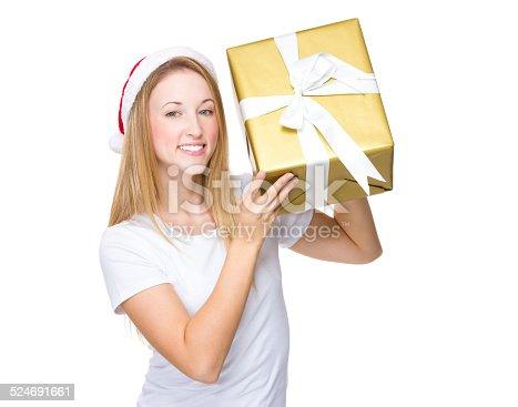 istock Christmas woman hold with big present box 524691661