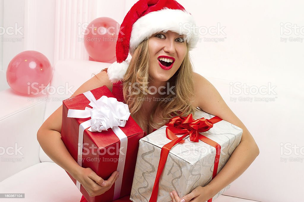 Christmas woman portrait hold red gift royalty-free stock photo