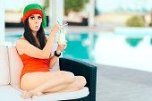 Beautiful girl celebrating Xmas in a spa resort