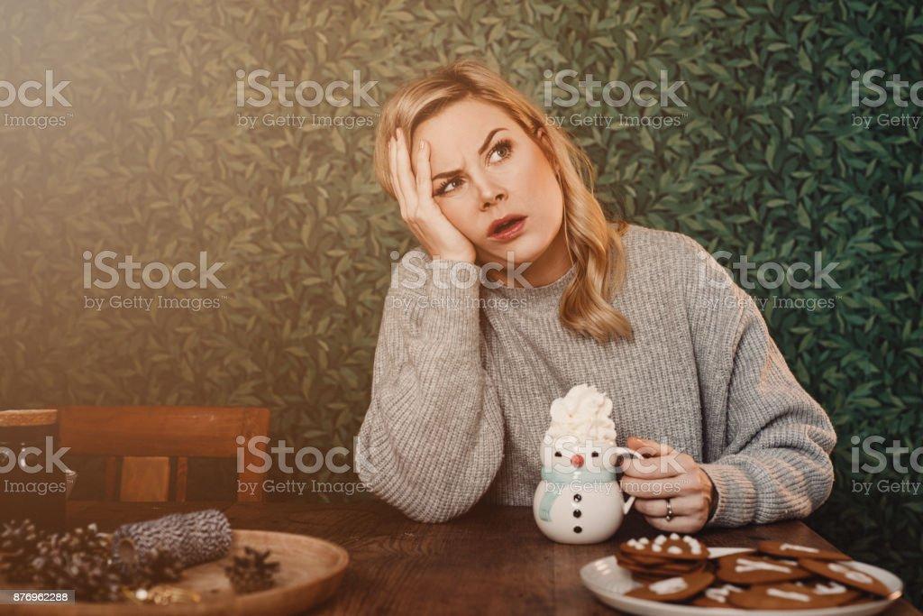 Christmas woman with hot chocolate stock photo