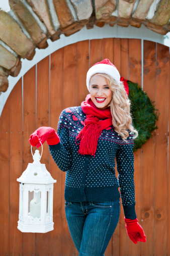 Christmas Woman With Lantern Stock Photo - Download Image Now