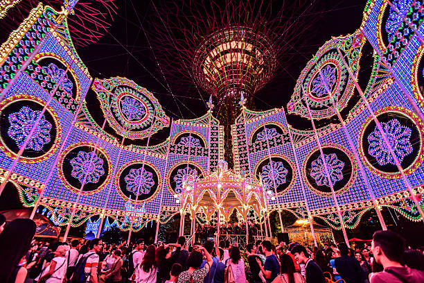 Christmas Wonderland in Garden By the Bay, Singapore stock photo