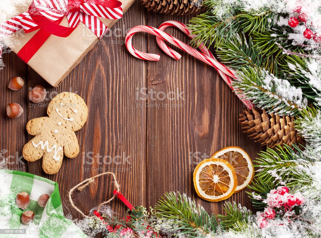 Christmas wooden background stock photo