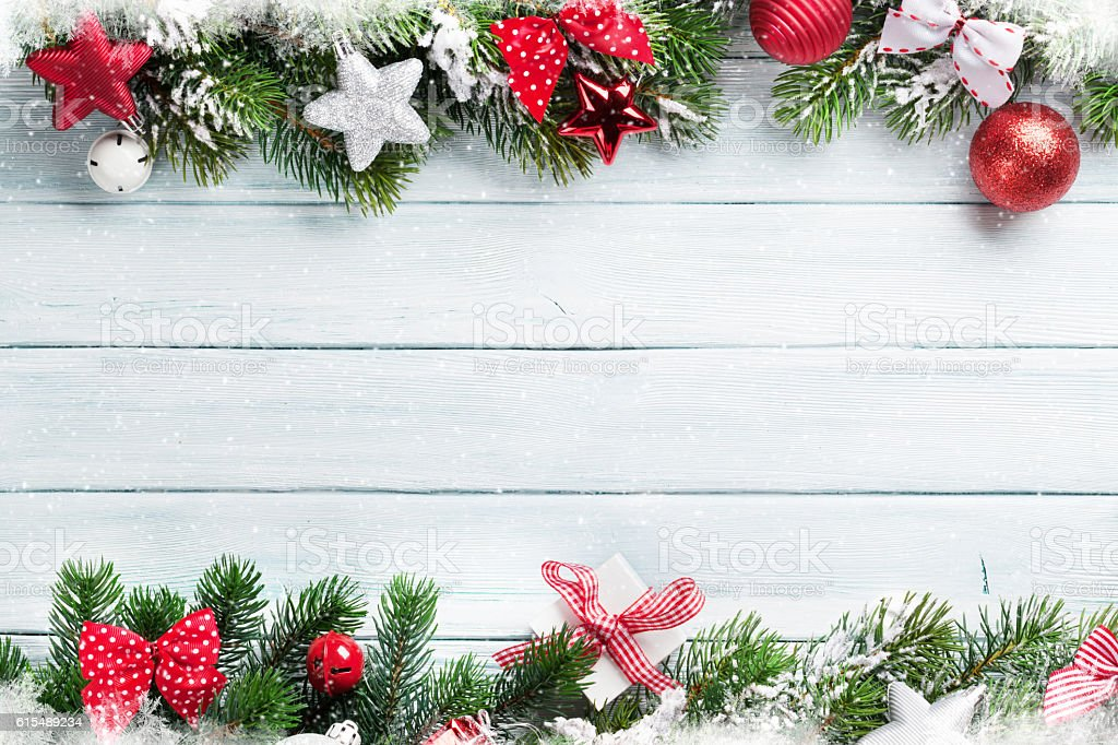 Fotografía De Navidad Fondo De Madera Y Más Banco De Imágenes De