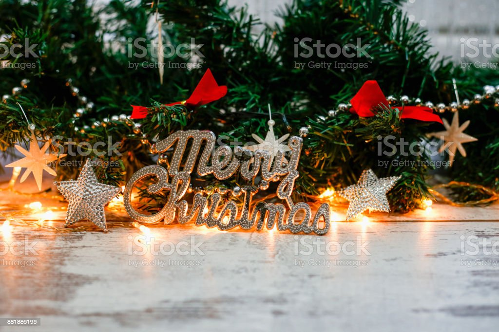 Christmas wooden background with fir branches stock photo