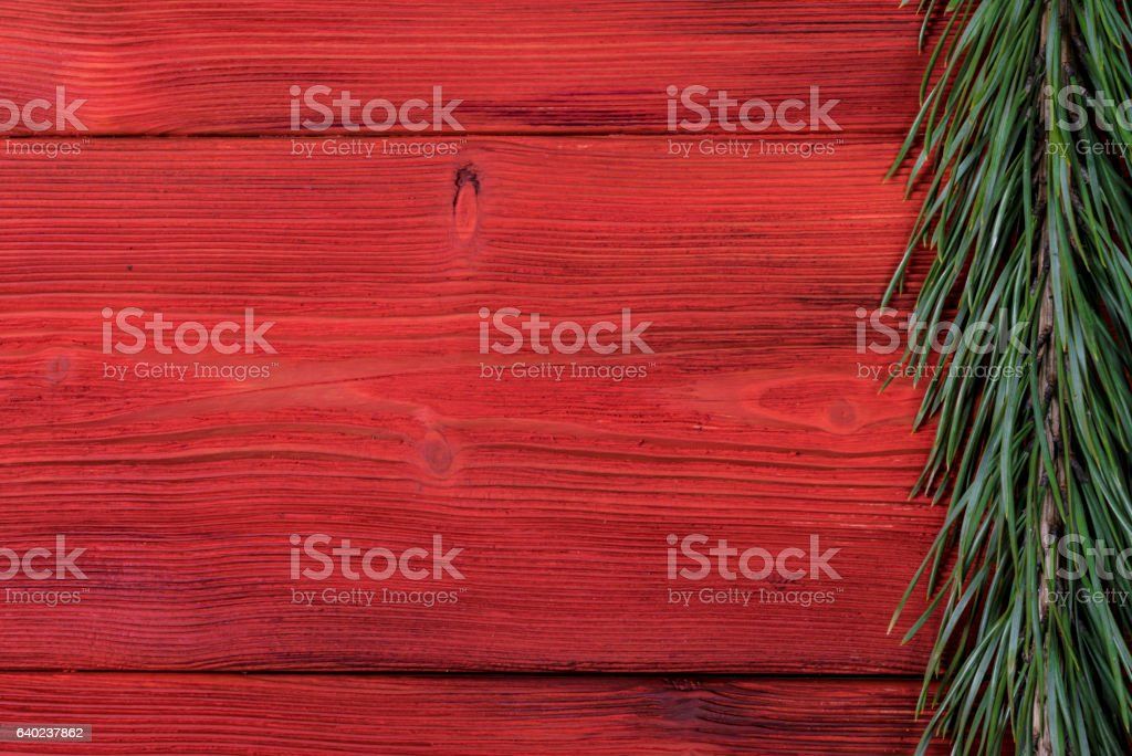 Christmas wooden background with fir tree, decoration – Foto