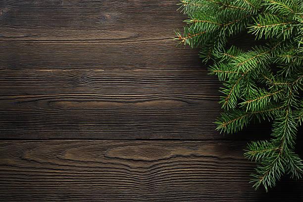 boże narodzenie drewniany tło z jodła - holiday background zdjęcia i obrazy z banku zdjęć