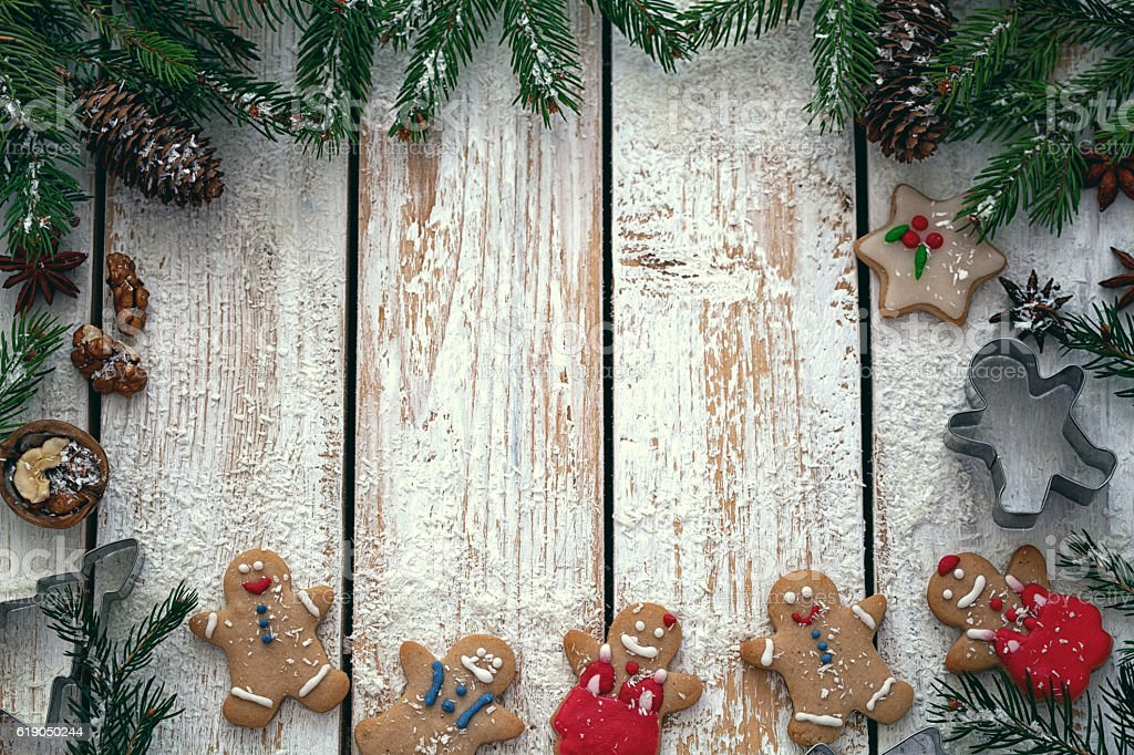Christmas Wood Background.Christmas Wooden Background With Gingerbread And Snow Stock Photo Download Image Now