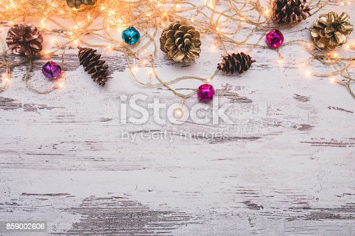 istock Christmas wooden background with snow fir tree. Top view with copy space for your text 859002606