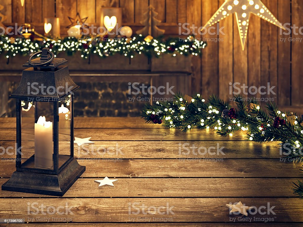 christmas wooden table with lantern and ornament. 3D RENDERING