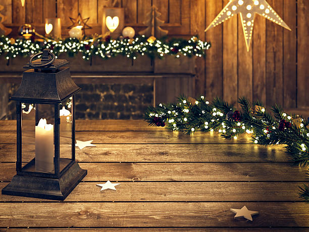 christmas wooden table with lantern and ornament. 3d rendering - shabby deko stock-fotos und bilder