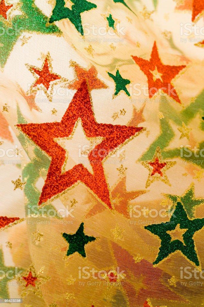 Weihnachten Einwickeln material mit Fokus auf roten Stern Lizenzfreies stock-foto