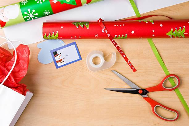 Christmas Wrapping Table stock photo