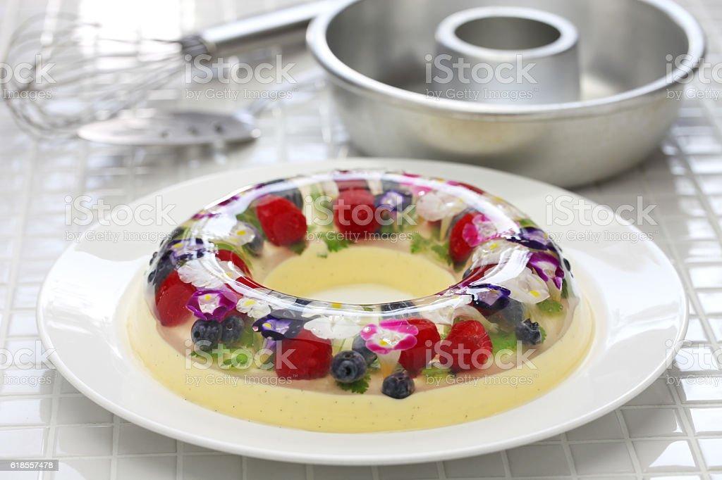 christmas wreath bavarois, homemade jelly dessert stock photo