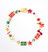 istock Christmas wreath - Christmas presents and decoration, beautiful flat lay arrangement with copy-space 1182664242