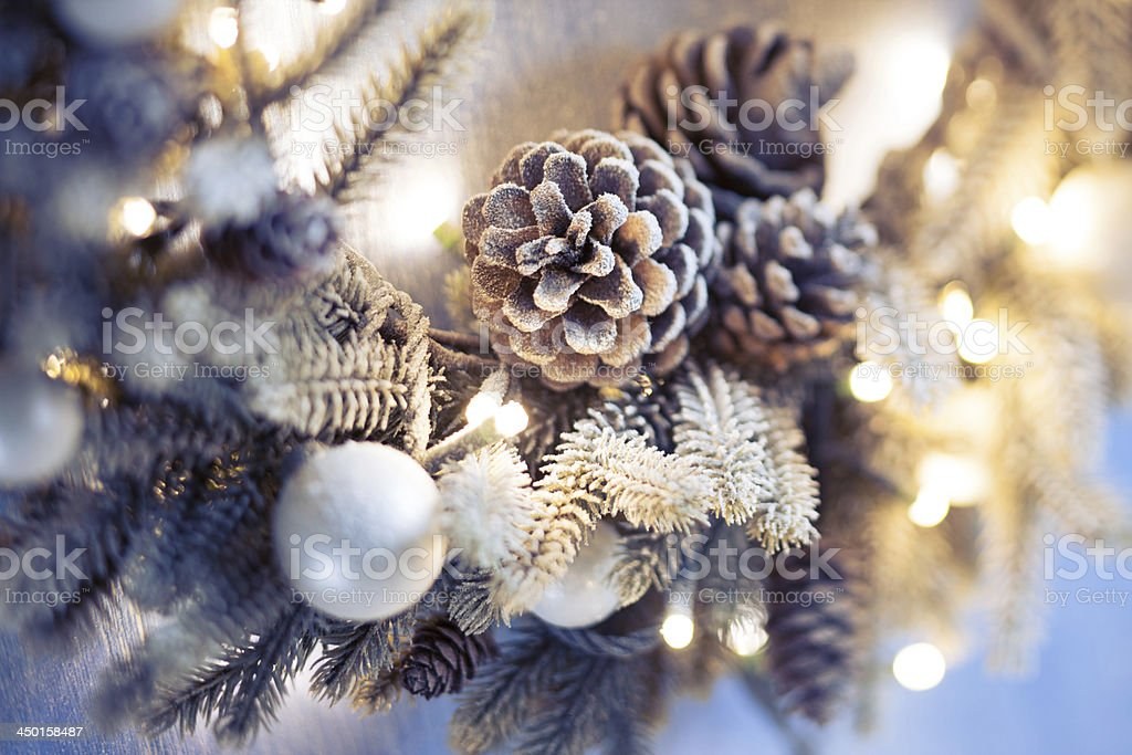 Christmas wreath closeup stock photo
