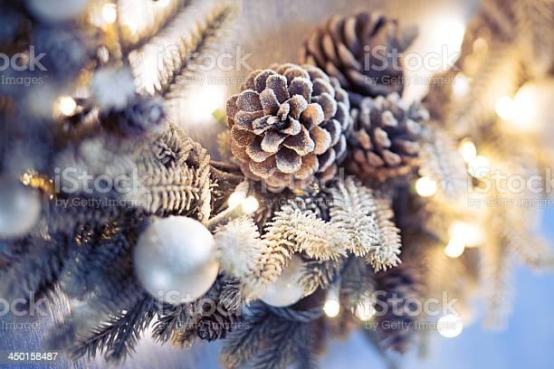 Christmas Wreath Closeup Stock Photo - Download Image Now