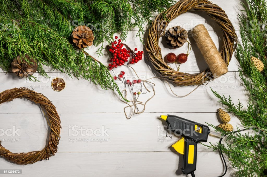 Christmas wreath decoration with handmade DIY, do it by yourself stock photo