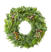 istock Christmas wreath fir pine spruce white background 1077307288