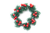 istock Christmas wreath for New Year decoration isolated on white 1272400342