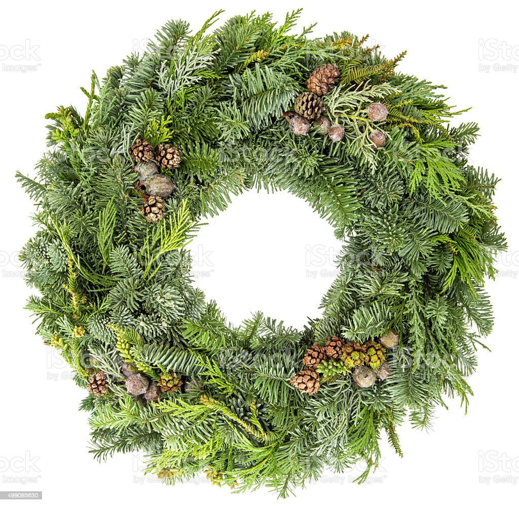 Christmas wreath from fir, pine and spruce twigs with cones stock photo