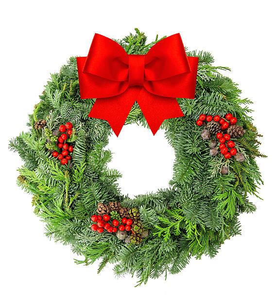 リースからクリスマスパインと spruce レッドのリボン - リース ストックフォトと画像