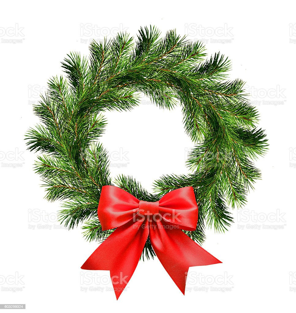 Christmas wreath from pine twigs and red ribbon bow stock photo
