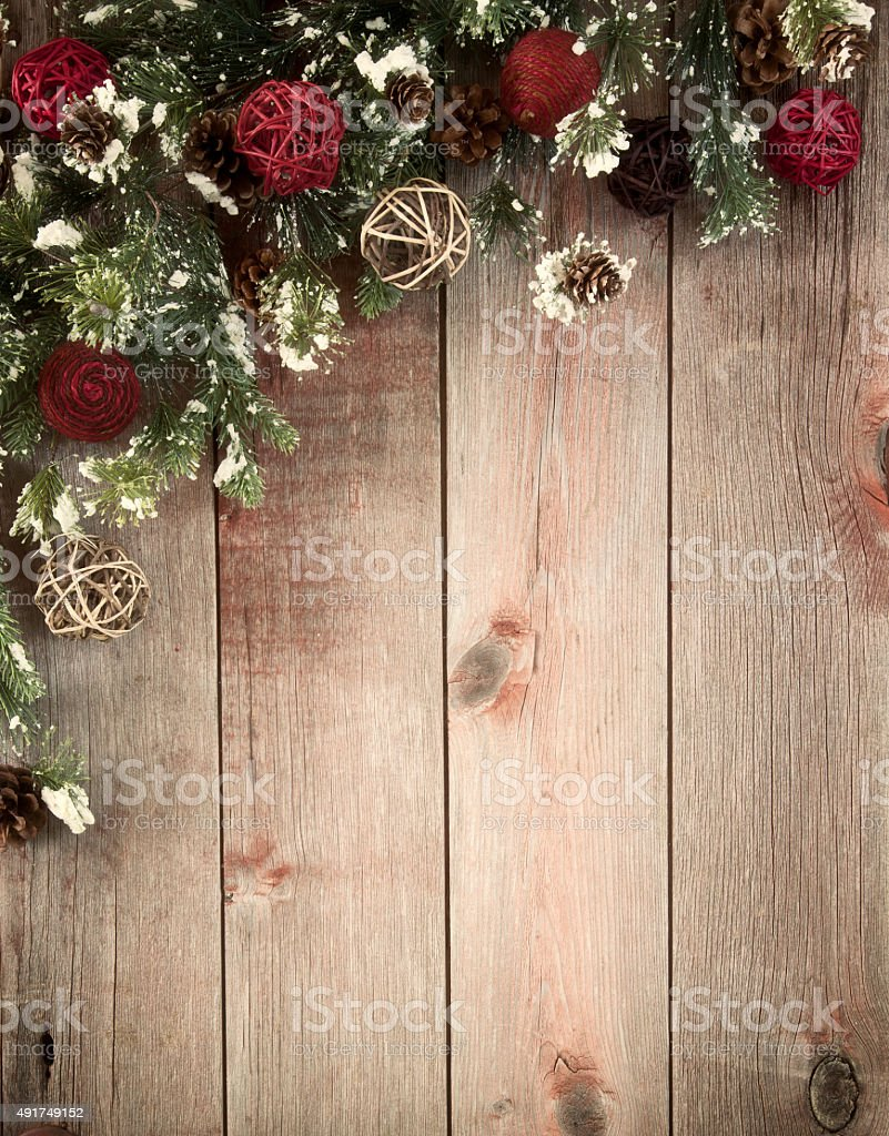 Christmas Wreath Garland Border On A Wood Background Stock ...