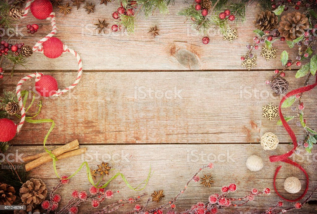Christmas Wreath Garland On An Old Rustic Barn Door Background Royalty Free Stock Photo
