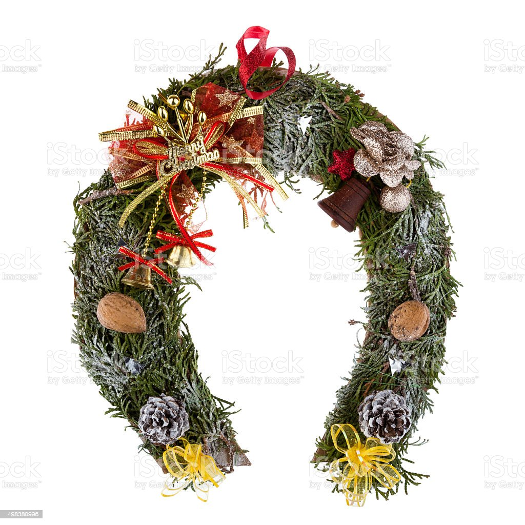 Christmas Wreath In The Shape Of A Horseshoe Stock Photo Download Image Now Istock