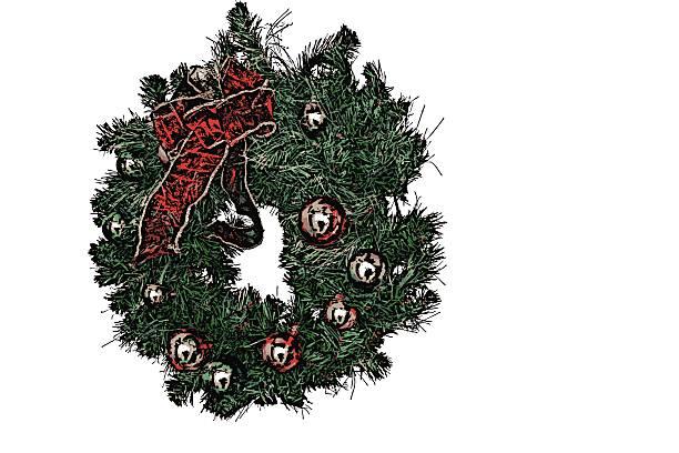 weihnachtskranz-isoliert - 0 - buchstabentür kränze stock-fotos und bilder