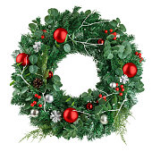 istock christmas wreath, isolated on white background, clipping path 1271008149