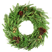 istock christmas wreath, isolated on white background 1271008145