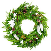 istock christmas wreath, isolated on white background 1271008183