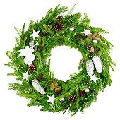 istock christmas wreath, isolated on white background 1279143625