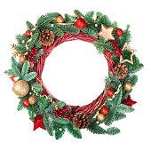 istock Christmas wreath isolated on white 1285994087