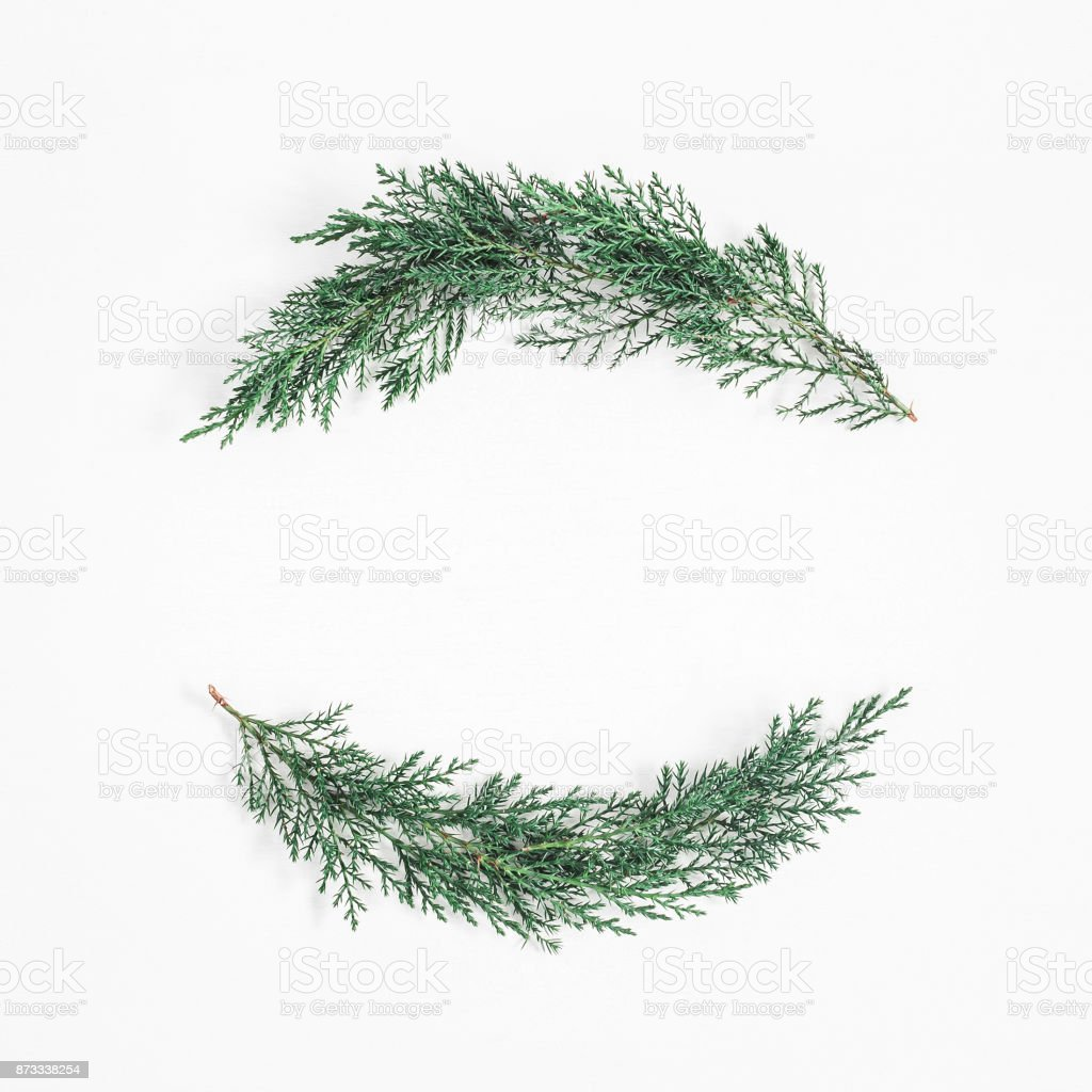 Christmas wreath made of cypress branches. Flat lay, top view stock photo