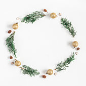 istock Christmas wreath made of pine branches. Flat lay, top view 862044676