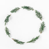 istock Christmas wreath made of pine branches. Flat lay, top view 862597500