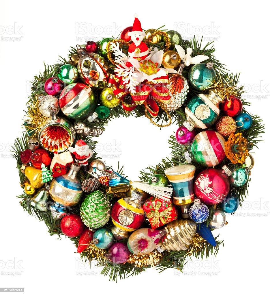 Christmas Wreath Made With Vintage Ornaments Isolated On ...