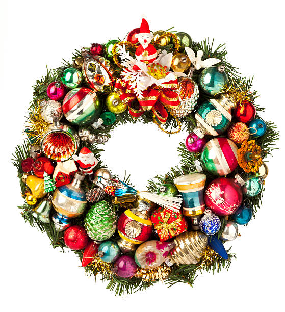 christmas wreath made with vintage ornaments, isolated on white. - vintage ornaments stock photos and pictures