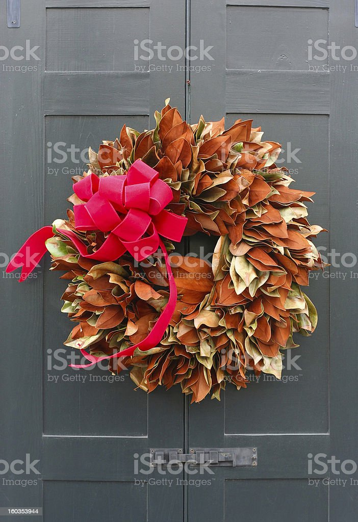 Christmas wreath on a door royalty-free stock photo